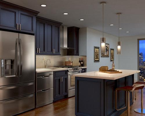 Grey & White Kitchen Pantry Design Ideas, Remodels & Photos with Light Hardwood Floors