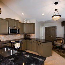 Transitional Kitchen by Hill's Lighting & Barstools