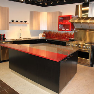 Large contemporary eat-in kitchen appliance - Inspiration for a large contemporary u-shaped cork floor eat-in kitchen remodel in Edmonton with a triple-bowl sink, flat-panel cabinets, light wood cabinets, quartzite countertops, red backsplash, glass sheet backsplash, stainless steel appliances and an island