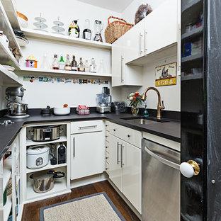 Diseño de cocina en U, tradicional renovada, pequeña, sin isla, con fregadero bajoencimera, armarios estilo shaker, electrodomésticos de acero inoxidable, suelo de madera oscura, despensa, puertas de armario blancas y encimera de acrílico