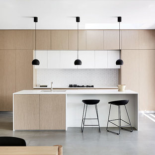 Modern Eat In Kitchen Appliance   Eat In Kitchen   Modern Galley Concrete  Floor