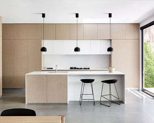 Photo Of A Modern Galley Eat In Kitchen In Melbourne With Ceramic  Splashback, An