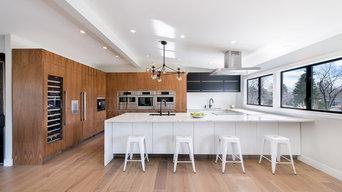 Flat Panel Walnut with Matte Acrylic custom IKEA kitchen