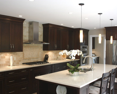 2X4 Travertine Backsplash Kitchen Design Ideas Remodel Pictures Houzz