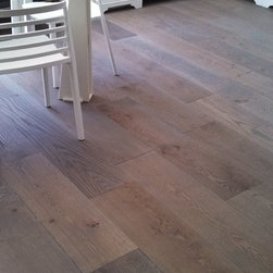 """Flip Man Mike Bairds Parade of Homes - 10"""" solid white oak, prefinished, wire brushed, grey washed and Woca European oil finish"""