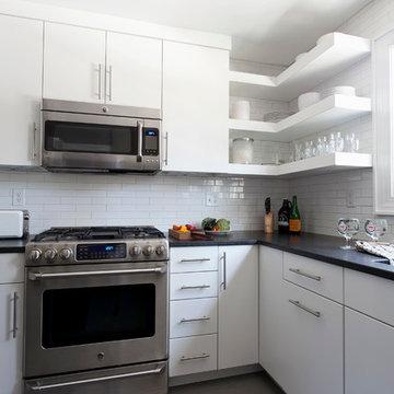Floating Shelves, Black Granite Countertops