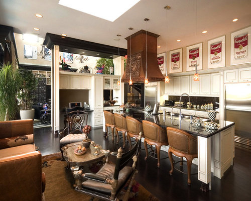 florida kitchen design ideas. large eclectic open concept kitchen pictures - inspiration for a dark wood floor florida design ideas