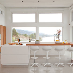 Design ideas for a large contemporary single-wall open plan kitchen in Vancouver with flat-panel cabinets, medium wood cabinets, multiple islands, an undermount sink, solid surface benchtops, stainless steel appliances, concrete floors and grey floor.