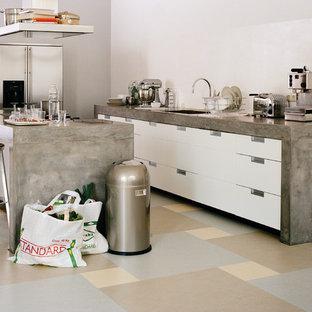 Modelo de cocina comedor de galera, minimalista, de tamaño medio, con suelo de linóleo, puertas de armario blancas, salpicadero blanco, electrodomésticos de acero inoxidable y una isla