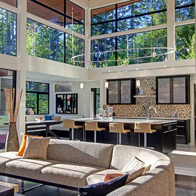 Open concept kitchen - contemporary open concept kitchen idea in Seattle