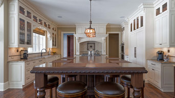 Formal Kitchen with a Mix of Painted & Stained Wood