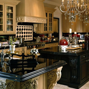 Inspiration for a mediterranean u-shaped open plan kitchen in Phoenix with glass-front cabinets, light wood cabinets, onyx benchtops, black splashback, ceramic splashback, stainless steel appliances, porcelain floors and multiple islands.