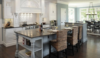 Formal white kitchen with blue island - Mullet Cabinet