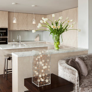 Mid-sized contemporary open concept kitchen inspiration - Mid-sized trendy u-shaped dark wood floor open concept kitchen photo in San Francisco with a single-bowl sink, flat-panel cabinets, light wood cabinets, marble countertops, glass sheet backsplash, paneled appliances and an island