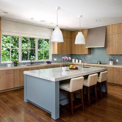 Kitchen - transitional kitchen idea in San Francisco with mosaic tile backsplash, stainless steel appliances, blue backsplash, flat-panel cabinets and medium tone wood cabinets