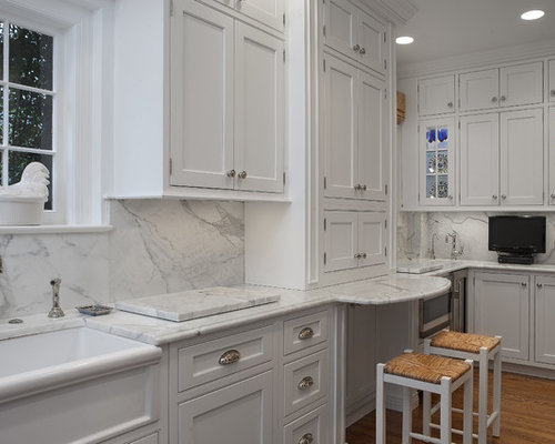 White Marble Backsplash Home Design Ideas Pictures Remodel And Decor
