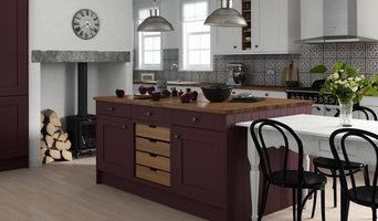 Framed Kitchen in Linen and Aubergine Matt