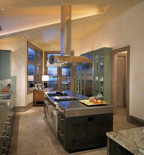 Kitchen Design Ideas Renovations Photos With Stainless Steel Worktops And Travertine Flooring