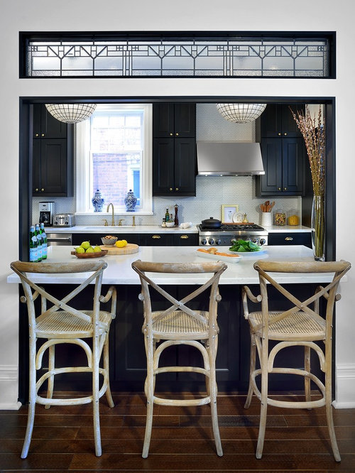 Traditional Galley Dark Wood Floor Enclosed Kitchen Idea In Toronto With Shaker Cabinets Black