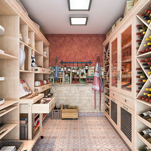 Mid-sized mediterranean kitchen pantry photos - Kitchen pantry - mid-sized mediterranean u-shaped ceramic floor kitchen pantry idea in Los Angeles with shaker cabinets and light wood cabinets