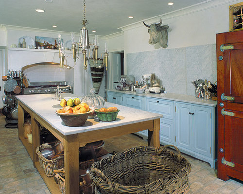 Farmhouse Brick Floor Kitchen Idea In Philadelphia With Marble Countertops,  Raised Panel Cabinets,