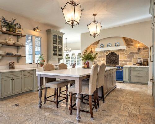 Cucina ad ambiente unico con pavimento con cementine denver foto