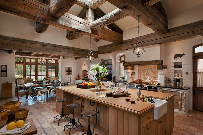 Mediterranean Kitchen by Higgins Architects
