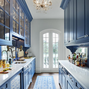 Mid-sized french country kitchen pantry inspiration - Example of a mid-sized french country galley dark wood floor and brown floor kitchen pantry design in Minneapolis with an undermount sink, raised-panel cabinets, blue cabinets, quartzite countertops, mirror backsplash, paneled appliances, no island and white countertops