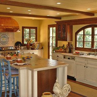 サンフランシスコの大きいトラディショナルスタイルのおしゃれなキッチン (アンダーカウンターシンク、落し込みパネル扉のキャビネット、ヴィンテージ仕上げキャビネット、タイルカウンター、マルチカラーのキッチンパネル、セラミックタイルのキッチンパネル、パネルと同色の調理設備、無垢フローリング) の写真