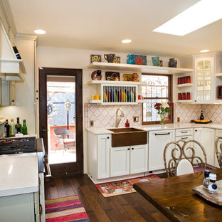 Eclectic enclosed kitchen ideas - Enclosed kitchen - eclectic enclosed kitchen idea in Austin with a farmhouse sink, open cabinets, white cabinets and white backsplash