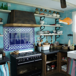 Inspiration for an eclectic kitchen remodel in London with open cabinets, blue backsplash and black appliances