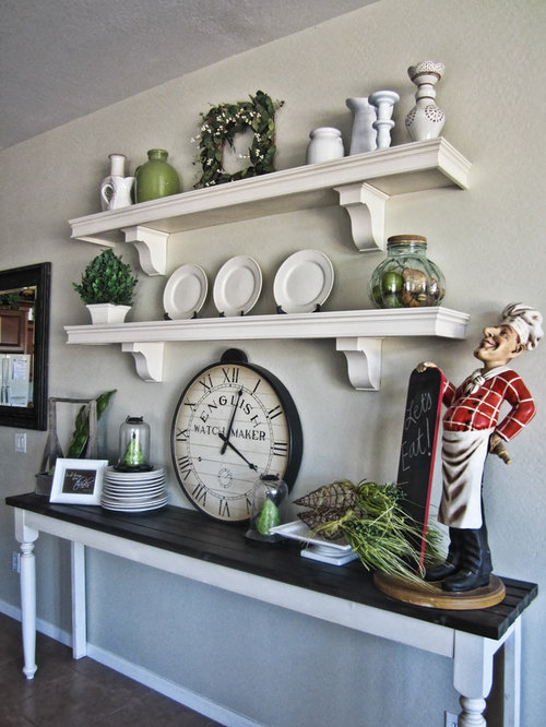French style kitchen houzz for Traditional kitchen shelves