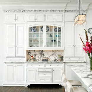 Traditional kitchen ideas - Inspiration for a timeless kitchen remodel in DC Metro with beaded inset cabinets, marble countertops, white cabinets and gray countertops