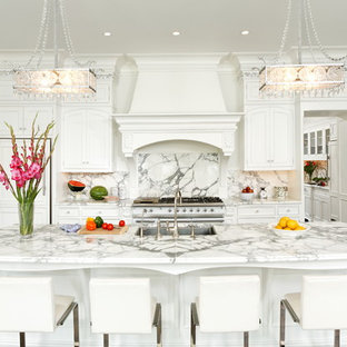 Elegant galley kitchen photo in DC Metro with marble countertops, a single-bowl sink, beaded inset cabinets, white cabinets, white backsplash, stone slab backsplash and paneled appliances