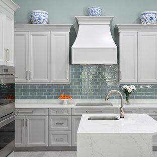 Gray Cabinets And Gl Tile Backsplash