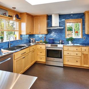 Photo of a mid-sized transitional u-shaped kitchen in Other with an integrated sink, shaker cabinets, light wood cabinets, stainless steel benchtops, blue splashback, ceramic splashback, stainless steel appliances, linoleum floors, a peninsula and brown floor.