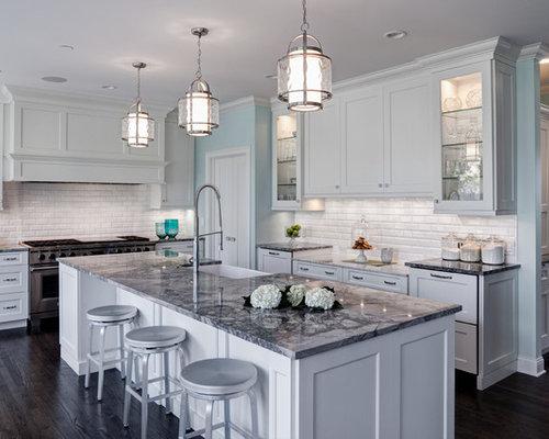 Super white grey goose quartzite home design ideas for Traditional gray kitchen