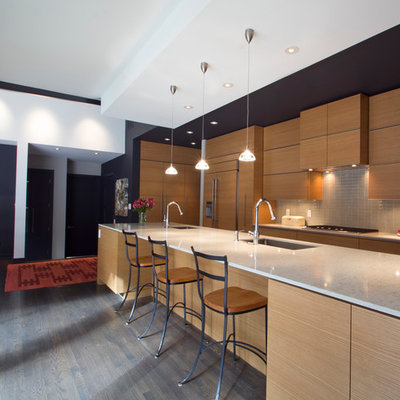 Inspiration for a mid-sized modern galley medium tone wood floor and brown floor eat-in kitchen remodel in Atlanta with a single-bowl sink, flat-panel cabinets, medium tone wood cabinets, gray backsplash, paneled appliances, ceramic backsplash, a peninsula and quartzite countertops