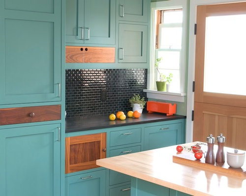 Contemporary Kitchen Appliance   Trendy Kitchen Photo In Los Angeles With Turquoise  Cabinets, Shaker Cabinets
