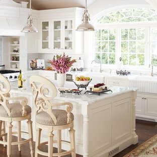 Example of a classic dark wood floor kitchen design in Other with recessed-panel cabinets, white cabinets and an island