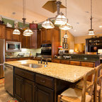 Beaded Inset Cabinetry In Cherry With Stone Archway
