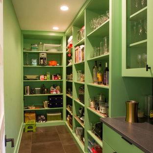 ミルウォーキーの大きいエクレクティックスタイルのおしゃれなキッチン (フラットパネル扉のキャビネット、緑のキャビネット、珪岩カウンター、メタリックのキッチンパネル、ミラータイルのキッチンパネル、磁器タイルの床、黒い床、黒いキッチンカウンター) の写真
