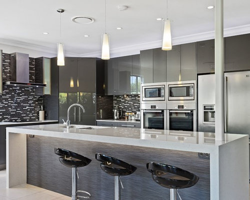 contemporary kitchen design. Photo Of A Mid-sized Contemporary Galley Kitchen In Gold Coast - Tweed With Flat Design