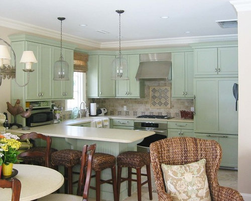 green kitchen color | houzz