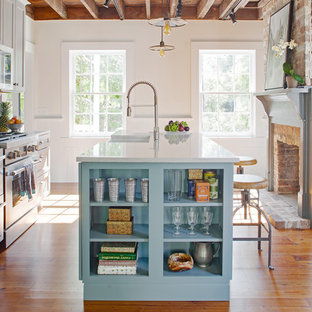 Example of a small farmhouse galley medium tone wood floor and brown floor enclosed kitchen design in Other with a farmhouse sink, gray cabinets, quartz countertops, blue backsplash, terra-cotta backsplash, stainless steel appliances, an island, white countertops and recessed-panel cabinets