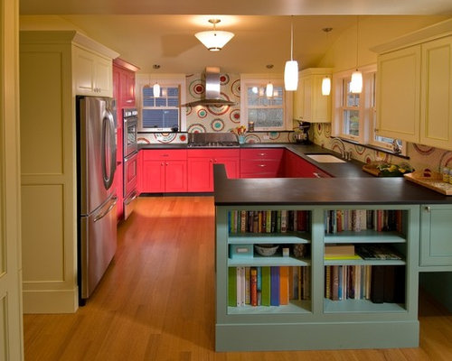 Teal and red kitchen design ideas remodels photos for Teal and red kitchen