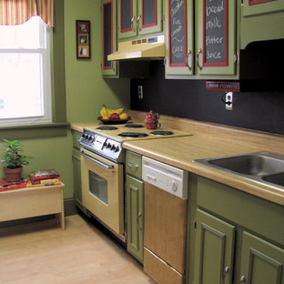 Inspiration for a small traditional single-wall separate kitchen in Boston with a drop-in sink, flat-panel cabinets, green cabinets, laminate benchtops, black splashback, coloured appliances, laminate floors, no island, beige floor and brown benchtop.