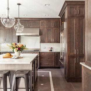 シカゴの中くらいのトランジショナルスタイルのおしゃれなキッチン (アンダーカウンターシンク、シェーカースタイル扉のキャビネット、濃色木目調キャビネット、クオーツストーンカウンター、セラミックタイルのキッチンパネル、シルバーの調理設備、磁器タイルの床、マルチカラーの床、白いキッチンカウンター、ベージュキッチンパネル) の写真