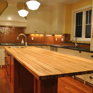 Kitchen   Traditional Kitchen Idea In Calgary With Shaker Cabinets, White  Cabinets, Brown Backsplash