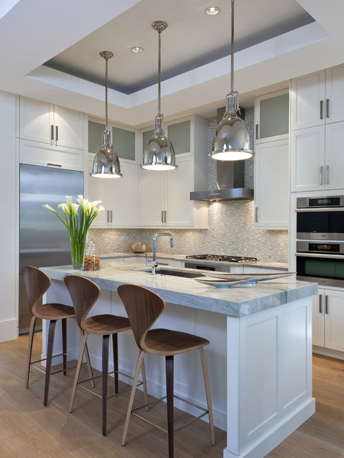 Beautiful Mid Sized Transitional L Shaped Medium Tone Wood Floor Kitchen Idea In  Miami With